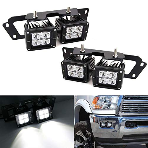 iJDMTOY LED Pod Light Fog Lamp Kit For Dodge 2009-12 RAM 1500 & 10-18 RAM 2500 3500, Includes (4) 20W High Power CREE LED Cubes, Foglight Location Mounting Brackets & Wiring/Adapter Harnesses ()