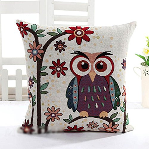 Luxury Owl Linen Cotton Throw Pillow Case Home Sofa, used for sale  Delivered anywhere in Canada