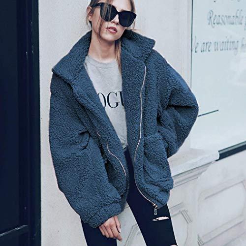Modo Donna Capispalla Blu Giacca Cappotti Strada Stile Di In Corto Shallgood Cerniera Elegante Peluche Giacche Caldo Inverno T5cawOWqXz