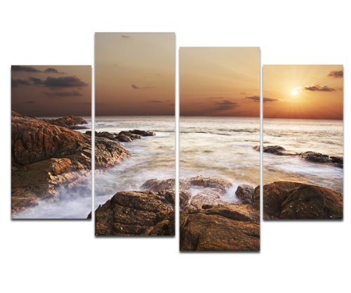 Wieco Art - Rocky Shoreline Large Modern 4 Panels Seascape Artwork Stretched and Framed Giclee Canvas Prints Landscape Sea Beach Pictures Paintings on Canvas Wall Art for Living Room Home Decorations