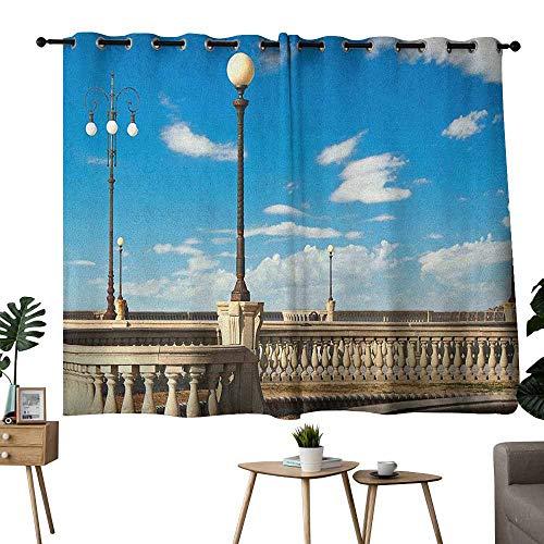 Mannwarehouse Italian Customized Curtains Mascagni Terrace Street Promenade of Livorno Tuscany Artwork Print 70%-80% Light Shading, 2 Panels,72