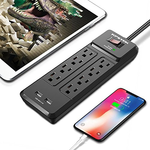 KPSTEK 8-Outlet Surge Protector Power Strip with 2 USB Quick Charge Ports (5V/2.4A), Wall Mountable Charging Station - 6ft Heavy Duty Extension Cord with Switch Control for Home & Office