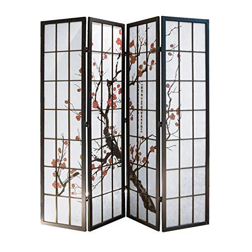 - Screen Gems Shoji 4 Panel Screen Room Divider, 4panels, Black