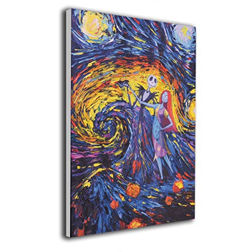 12 X 16 Inch Paintings Jack Sally Jack And Sally Nightmare Before Christmas Contemporary Artwork Abstract Art Wall Art Living Room Artwork On Canvas Ready To Hang Framed Art Bedroom Living Room]()