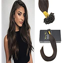 Sunny 14inch #2 Darkest Brown Pre Bonded Keratin Fusion Tips Human Hair Remy Straight Human Hair U Tip Extensions Total 50g