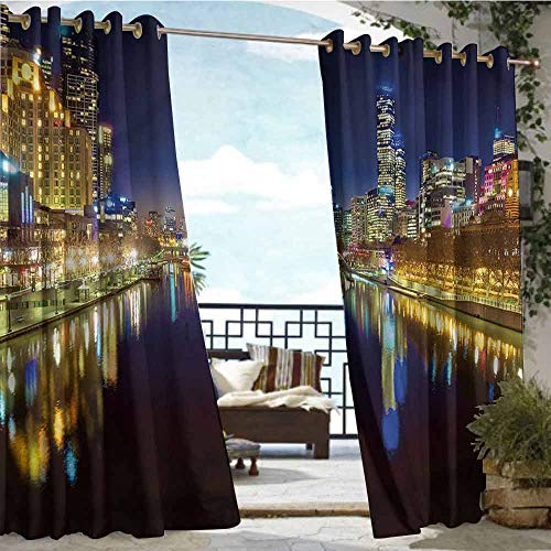 crabee Indoor/Outdoor Single Panel Print Window Curtain City,Night in Melbourne River,W96 xL108 Outdoor Curtain for Patio,Outdoor Patio Curtains