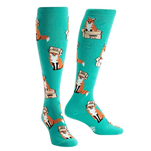 Sock It To Me Women's Knee Funky Foxes In Boxes Socks