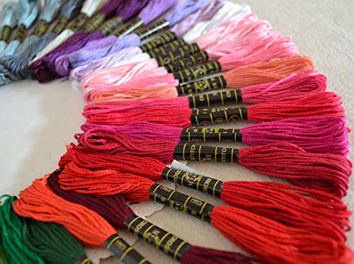QICI Embroidery Floss 100 Skeins Embroidery Premium Multi-Color Cross Stitch Threads Friendship Bracelet String