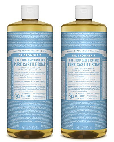 Dr. Bronner's - Pure-Castile Liquid Soap (Baby Unscented, 32 Fl Oz (Pack of 2) by Dr. Bronner's