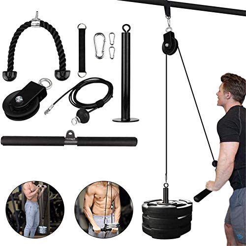 Fitness LAT Lift Pulley System With Machine Cable, Upgraded Loading Pin for Triceps Pull Down, Biceps Curl, Back…