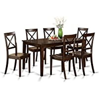 East West Furniture CABO7S-CAP-W 7Piece Dining Set-Dining Table & 6 Wood Seat Dining Chairs