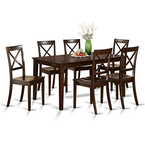 East West Furniture CAB7S-CAP-W 7 Pc Formal Dining Room Set - Table and 6 Formal Dining Chairs ()