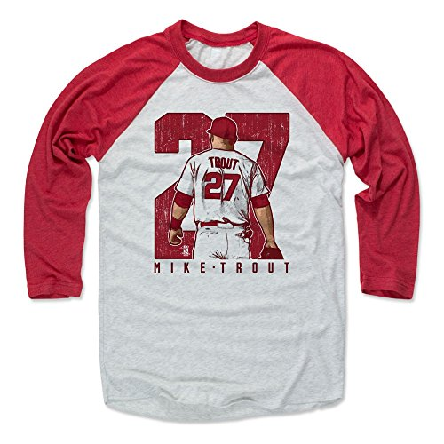 500 LEVEL Mike Trout Baseball Tee Shirt Large Red/Ash - Los Angeles Baseball Raglan Shirt - Mike Trout Clutch R (Ash Baseball T-shirt)