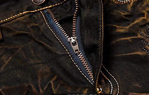 Alla Vita Moda Battercake Dritto Media Jeans Uomo Da A Strappati Slim Comodo Giallo Fit Taglio Senza Or7pxw8Oq