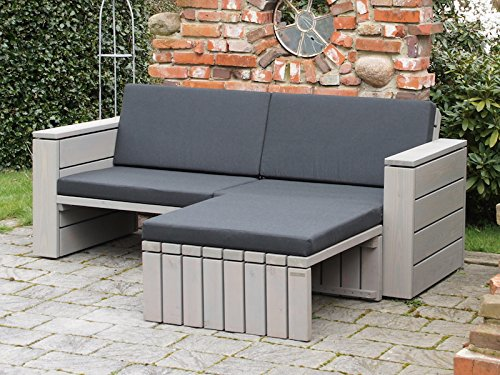 Lounge Sofa 3-4 Sitzer + Hocker Holz, inkl. Polster - Lieferung komplett montiert