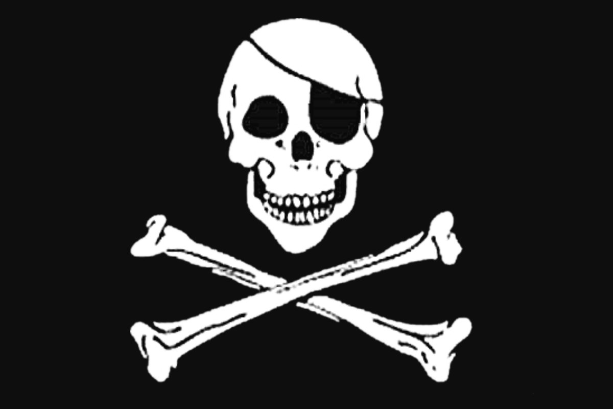 Durabol , Bandiera di Pirata 150x 90cm Raso 150 x 90 cm. Nero