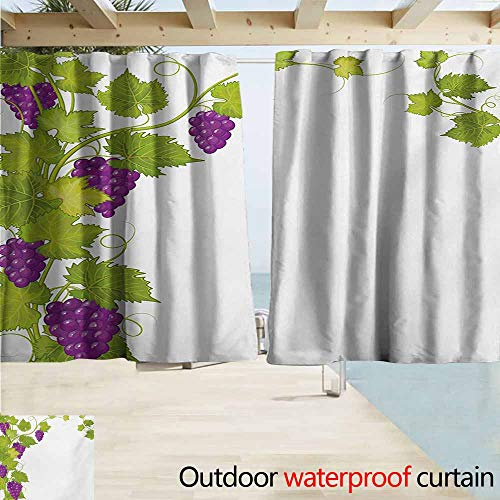 Lcxzjgk Vineyard Grommet Outdoor Curtains Latin Brochure Label Italian Town Province Vintage Style Menu Sign Art Print for Patio/Front Porch W55 xL72 Violet Green