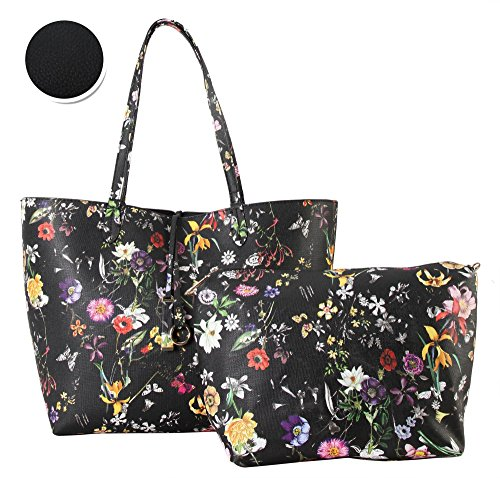 Diophy PU Leather Colorful Floral Pattern Two Tone Revers...