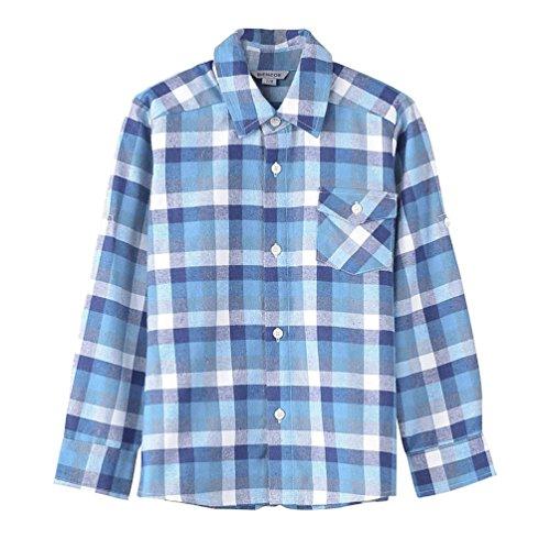 - Bienzoe Boy's Flannel Button Down Long Sleeve Plaid Shirt Blue 9/10