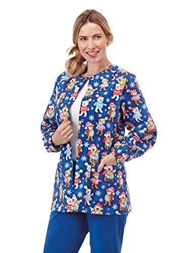 Bio Women's Raglan Sleeve Snap Front Holiday Bear Print Scrub Jacket Small Print ()