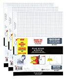"""Five Star Filler Paper, Graph Ruled Paper, 100 Sheets/Pack, 11"""" x 8-1/2"""", Reinforced, Loose Leaf, White, 3 Pack (38034)"""