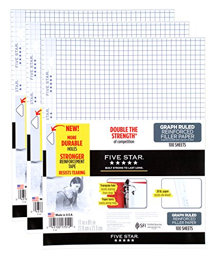 Five Star Filler Graph Paper - 100 Sheets per Pack - 11 in. x 8-1/2 in. - 3 Pack