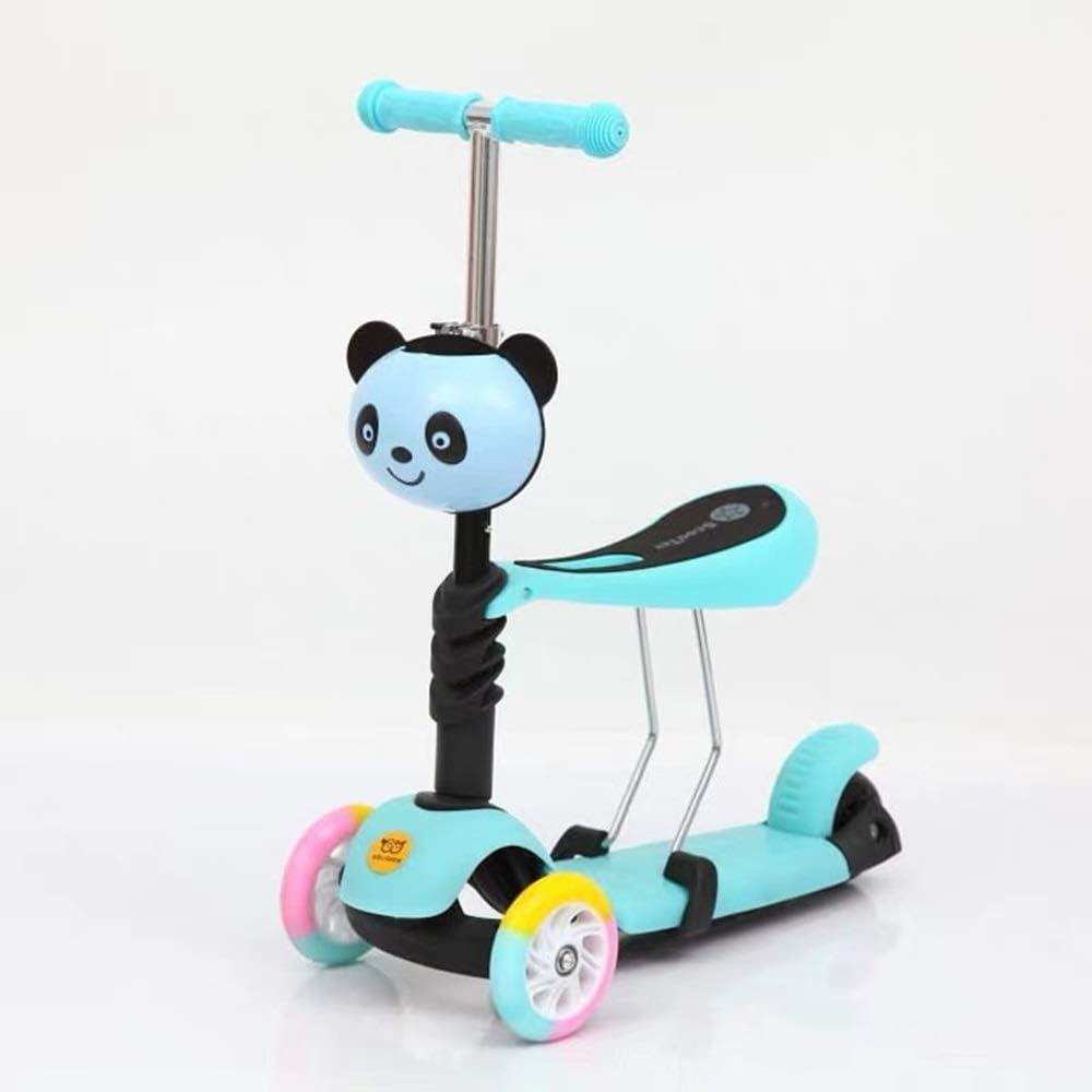 Meet now 子供のスクーター三輪車の赤ちゃん3イン1バランスバイク、かわいいパンダスタイル 品質保証 ( Color : 青 )
