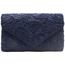 Wiwsi Lace Floral Handbag Women Lady Nice Bridal Purse Clutch Evening Party Bag(Navy)
