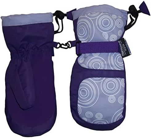 N'Ice Caps Girls Thinsulate and Waterproof Circle Scroll Print Snow Mittens
