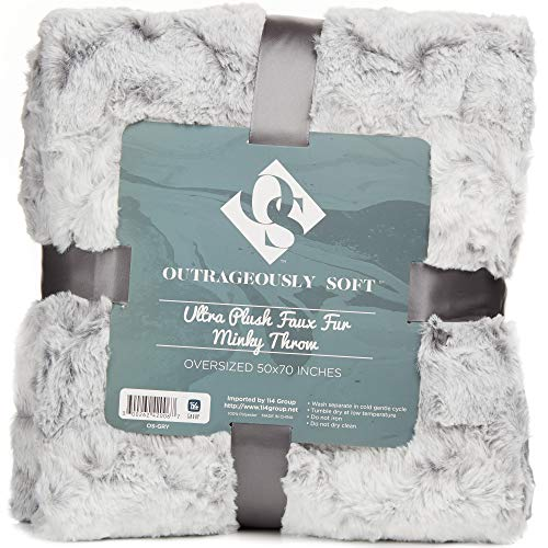 1i4 Group Outrageously Soft Throw Blanket - Ultra Plush Minky Faux Fur Blanket - 50 x 70 Inches - Grey