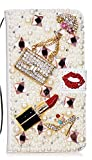 STENES Galaxy Note 9 Case - Stylish - 3D Handmade Bling Crystal Girls Bags Lipstick High Heel Magnetic Wallet Credit Card Slots Fold Stand Leather Cover for Samsung Galaxy Note 9 - Red