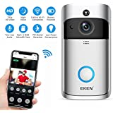 EKEN Video Doorbell 2 720P HD Wifi Camera Real-Time Video Two-Way Audio Wide-angle Lens Night Vision PIR Motion Detection App Control with FREE Chime (Add Both To Cart) & Built-in 8GB Card