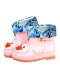 Amaping Toddler Kids Baby Cartoon Duck Waterproof Warm Boots Anti-slip Rain Shoes