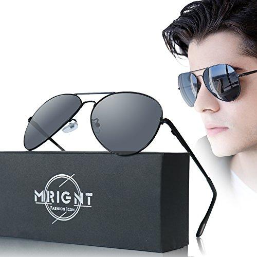 Men Military Classic Aviator polarized Sunglasses UV400 with A Sunglasses Case