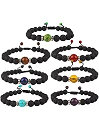 7 Pack 7 Chakras Stones Bracelet Stretch Bracelets Healing Power Adjustable Bracelet, Unisex
