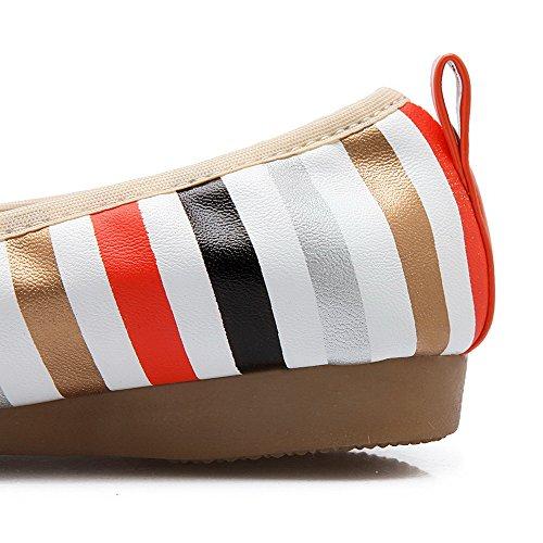 VogueZone009 Damen PU Leder Ziehen auf Rund Zehe Niedriger Absatz Gemischte Farbe Pumps Schuhe Orange
