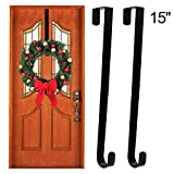 """pictures of front doors ESFUN Wreath Hanger Over The Door Hooks - 15"""" Window Wreath Holder Metal Hook Hangers for Christmas Wreath Front Door Decorations Hanger Black,2 Pack"""