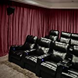 Velvet Blackout Lined Home Movie Theater Curtain Drapes Panel, Pinch Pleated 200W x 96''L (1 Panel) For Stage Event Auditorium, BURGUNDY