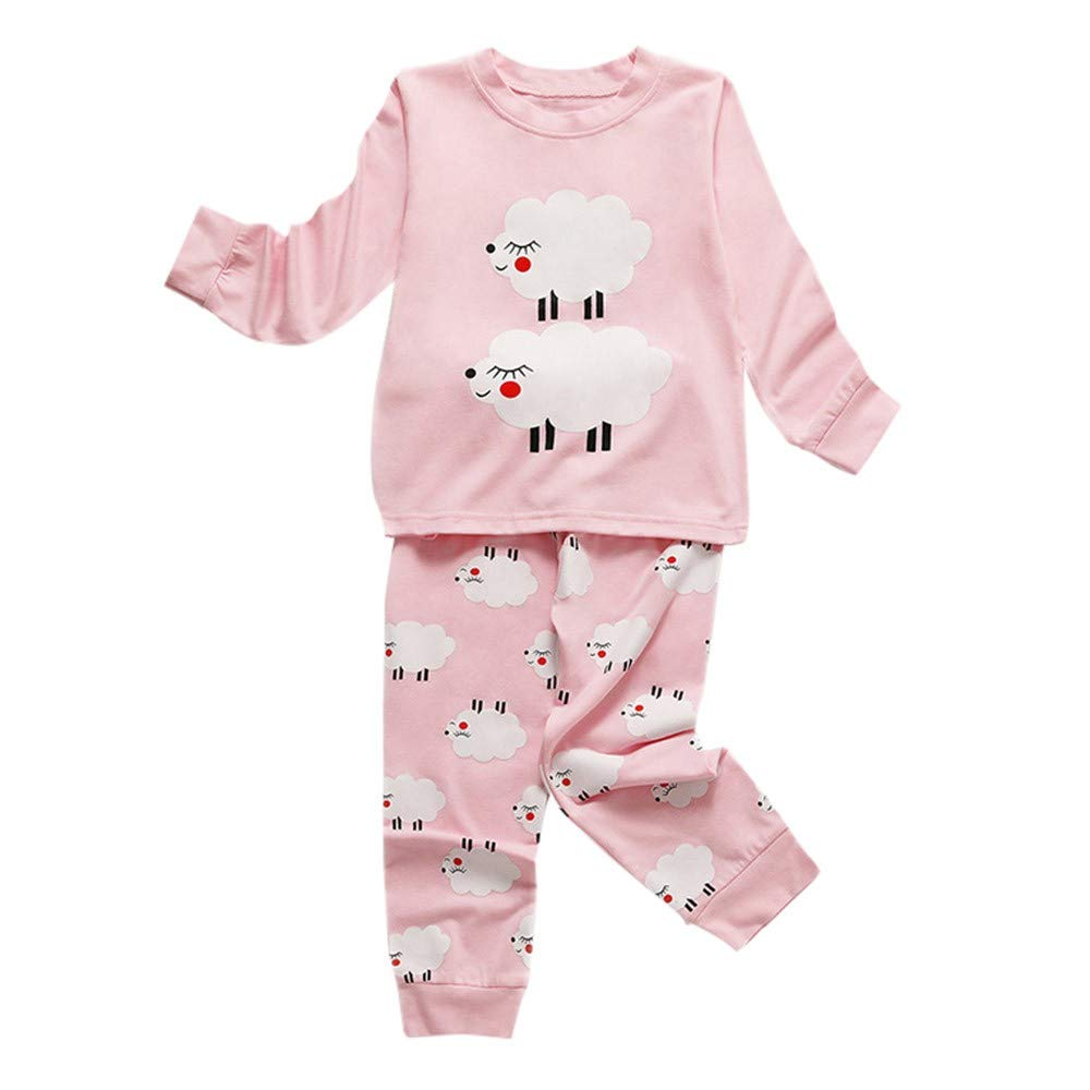 Muium Toddler Infant Baby Cartoon Sheep Print Tops + Pants Clothes Outfits Long Sleeve Pajamas Sleepwear for 1-6 Years Old