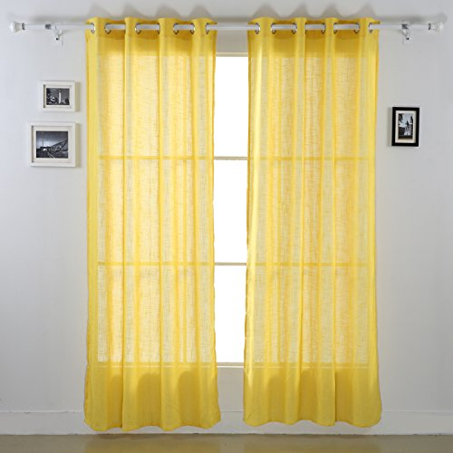 Deconovo Linen Grommet Curtains Window Sheers Curtains for Kids Room 52 x 84 Inch Yellow 1 Pair