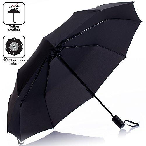 umbrella windproof travel 10 ribs - black unbreakable auto compact folding personal umbrella teflon rain repellent durable portable design waterproof with heavy duty ergonomic handle
