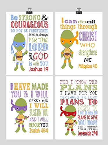 Christian TMNT Nursery Decor Art Print Set of 4 - Raphael, Michaelangelo, Donatello and Leonardo - Multiple Sizes