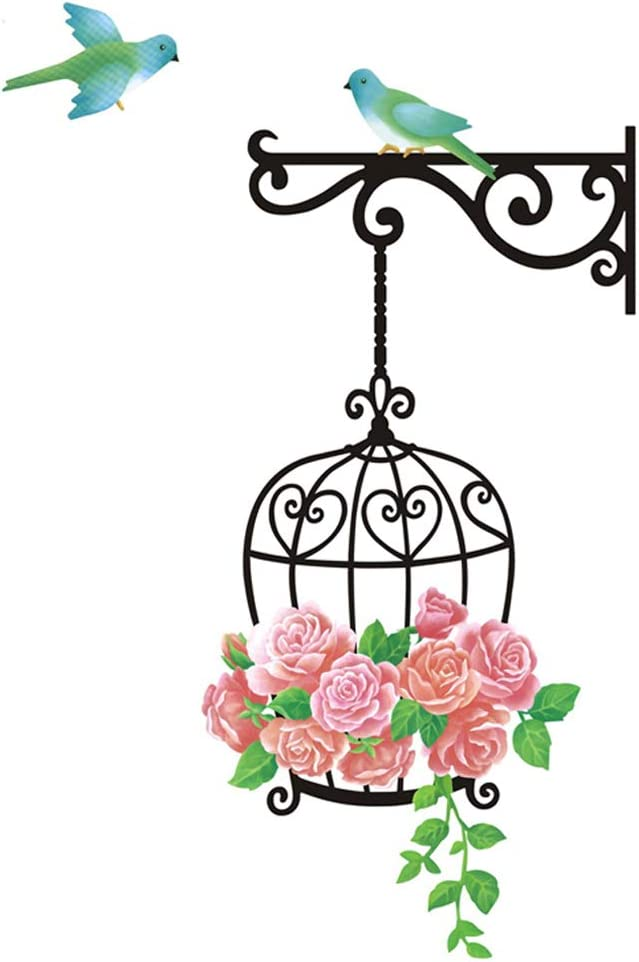 Wall Sticker Roses Flowers Birds Cage Paper Home Decal Removable Wall Vinyl Living Room Bedroom PVC Art Picture Murals Waterproof DIY Stick for Adults Teens Kids Nursery Baby