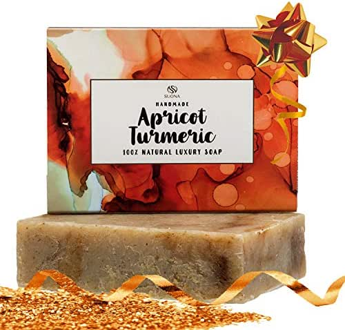 Turmeric Soap- Face Lightening-Skin Brightening Soap Bar for Acne & Dark Spots.100% Natural & Organic.Body & Facial Soap Soothes Eczema & Dry Skin.Top Stocking Stuffers For Women & Men, All Skin Types