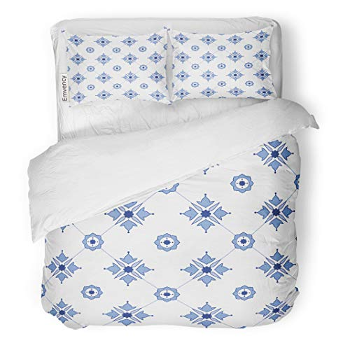 Semtomn Decor Duvet Cover Set Twin Size Blue Abstract Delftware Pattern Amsterdam Antique Delft Europe European 3 Piece Brushed Microfiber Fabric Print Bedding Set Cover -