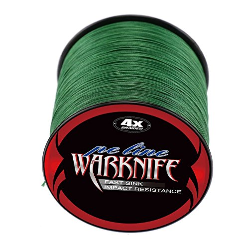 Warknife 4 Stands Super Strong Braided Fishing Line Tensile Strength 500Meters/546.8Yards 8LB Moss Green