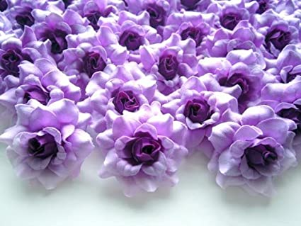 Amazon 100 silk purple roses flower head 175 artificial 100 silk purple roses flower head 175quot artificial flowers heads fabric mightylinksfo