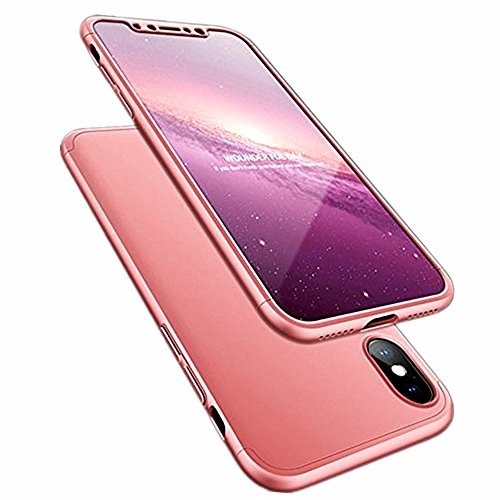 Case for iPhone Xs Max Case 3 in 1 360 Degree Full Body Hard PC Anti-Dropping Back Cover (iPhone xs max, Rose Gold)
