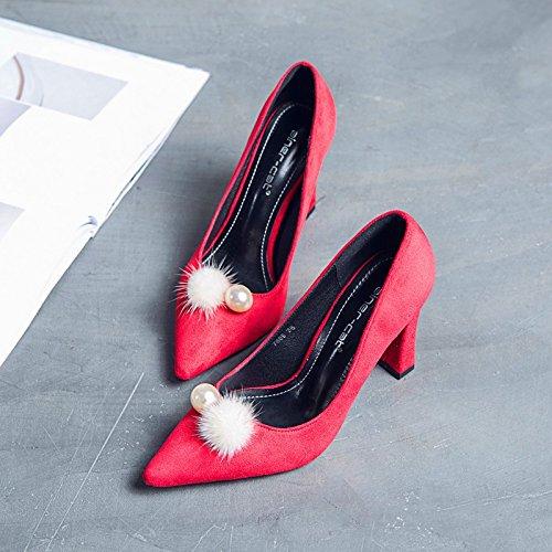 el secador verano agua punta zapatos boca mujer y de primavera solo tacones zapatos visón La 38 rojo tendencia superficial SHRfw