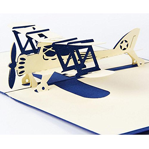 lilliCraftGift 3D Pop Up Cards with Envelope Greetings for Children's Day Birthday Thanksgiving New Year's Christmas Easter Halloween Anniversary-Air Plane